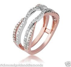 14k Rose and White Gold Split Shank Solitaire Enhancer Diamonds Ring Guard Wrap
