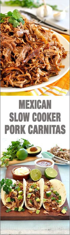 Mexican Slow Cooker Pork Carnitas - Super easy slow cooker Pork Carnitas (Mexican Pulled Pork) and the BEST way to get the brown bits! #crockpot