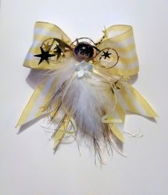 Yellow and White Striped Angel, Handmade Angel, Feather Angel,Gift Topper, Party Favor, Ornament, Angel