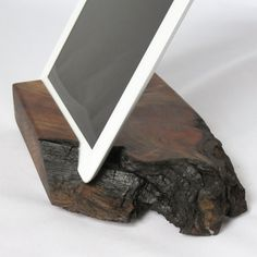Wood iPad Stand Live Edge Wood Walnut Docking by Grantstands, $79.95