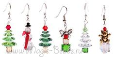 More Holiday Jewelry Ideas Beaded Christmas Ornaments, Christmas Earrings, Beaded Beads, Beaded Jewelry, Beaded Crafts, Jewelry Crafts, Jewelry Ideas, Ideas Joyería, Xmas Ideas