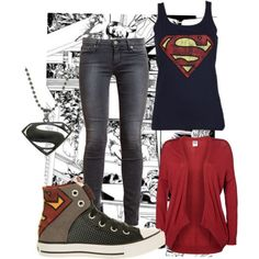 Sweet! I need this outfit! PLZ IF U KNO ME THEN GIVE THIS STUFF TO ME FOR MY BDAY IT'S LIKE THE NUMBER ONE THING I really just need the tank top, shoes, necklace oh and a superman hat! - Visit now to grab yourself a super hero shirt today at 40% off!