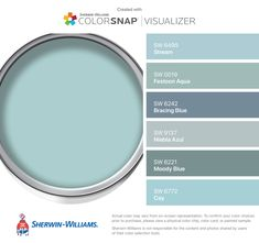 I found these colors with ColorSnap® Visualizer for iPhone by Sherwin-Williams: Stream (SW Festoon Aqua (SW Bracing Blue (SW Niebla Azul (SW Moody Blue (SW Cay (SW Aqua Paint Colors, Interior Paint Colors, Wall Colors, Aqua Color, Paint Colors For Living Room, Paint Colors For Home, Laundry Room Colors, Farmhouse Paint Colors, Sherwin William Paint