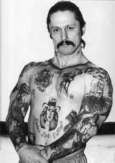 Single Sleeve Tattoo Death Costume Tattoo 1980s Biker Prison Tats 908