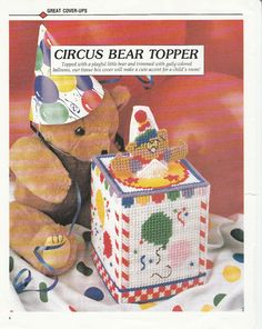 Cute Clown Bear Tissue Box Cover in Plastic Canvas by TamarasTraditions on Etsy