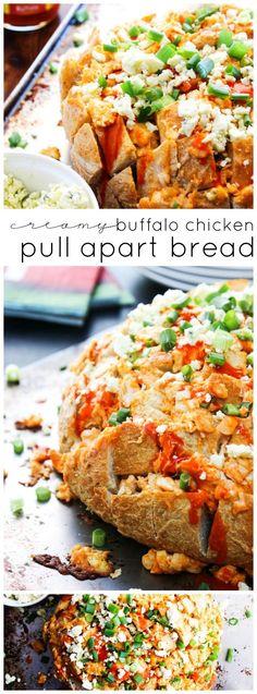 Creamy Buffalo Chicken Pull Apart Bread