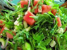Arugula Salad with Watermelon, Cucumber and Feta