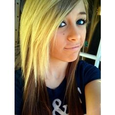 yellow scene hair | blonde scene hairstyle brown and green highlighted bangs scene ...