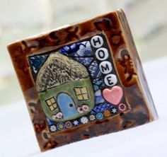 HOME Mosaic mixed media garden art by Lisabetzmosaicart on Etsy, $28.00