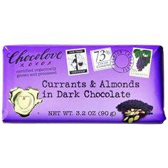 Chocolove Xoxox Premium Chocolate Bar - Organic Dark Chocolate - Fair Trade Currants and Almonds - 3.2 oz Bars - Case of 12
