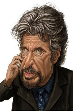 Al Pacino LOL That's my guy! Hubby you look soooo like him. ~~captured him~~ Al Pacino Funny Caricatures, Celebrity Caricatures, Celebrity Drawings, Cartoon Faces, Funny Faces, Cartoon Art, Al Pacino, Sketch Manga, Caricature Drawing