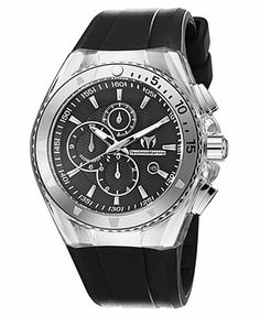 TechnoMarine Watch, Men's Swiss Chronograph Cruise Original Black and Clear Silicone Straps 110048