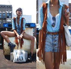Mom's Button Up Shirt, Vintage Fringed Suede Vest, Vintage Acid Wash High Waists, Vintage Leather Boots, Gift From Friend Feed Tote