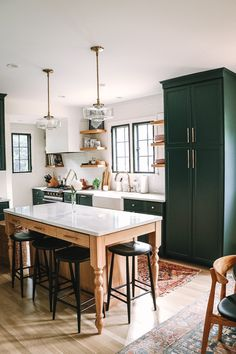 Everything You Wanted to Know About Our Kitchen Remodel & Wit & Delight & Designing a Life Well-Lived Source by Kitchen Redo, Home Decor Kitchen, Interior Design Kitchen, Home Kitchens, Kitchen Remodel, Teal Kitchen Cabinets, Green Kitchen Island, Space Kitchen, Green Cabinets