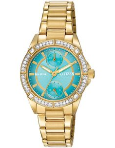 Citizen Ladies Crystal DRIVE POV Eco-Drive - Turquoise Dial - Gold-Tone 32c8fe879