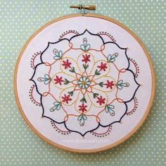 Here we have my very first original hand embroidered mandala design! The others I've done in the past have been from purchased patterns. I really enjoyed creating this. Embroidery hoop art by Suosaari on Etsy. Hand Embroidery Stitches, Embroidery Hoop Art, Hand Embroidery Designs, Vintage Embroidery, Embroidery Techniques, Cross Stitch Embroidery, Machine Embroidery, Crewel Embroidery, Embroidery Ideas