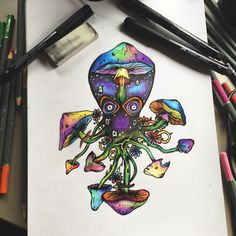Trippy multicolour octopus drawing in pen and pencils