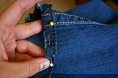 The BEST tutorial for hemming jeans.