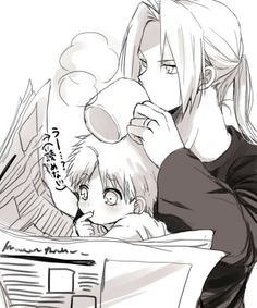 Father and son (Fullmetal Alchemist) How adorable ;w; Winry has the perfect guy...