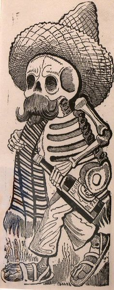"""""""Calavera de Francisco I. Madero,"""" 1910, printed 1930, photo-relief etching with engraving, the Museum of Fine Arts, Houston."""