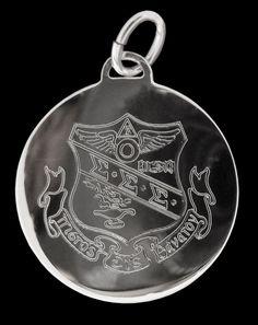 Sigma Sigma Sigma, ΣΣΣ, Tri Sigma Charm Engraved Crest In Sterling Silver #McCartney #CharmPendant