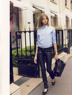 "Vogue Paris August 2008 ""Reality Show Model: Anna Selezneva Photographer: Terry Richardson Stylist: Emmanuelle Alt Anna Selezneva, Vogue Paris, Blue Oxford Shirt, Oxford Blue, Scandinavian Fashion, All Jeans, Terry Richardson, Mode Editorials, Girls Be Like"