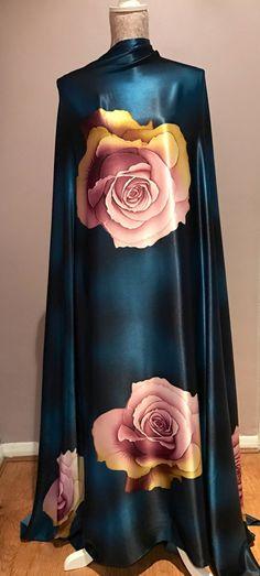Teal Silk fabric by the yard Silk Satin by FashionSenseStudio