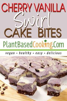 A delicious dairy and egg-free version of cheesecake made special with a little cherry swirl. Not overly sweet but tantalizing bites of goodness good enough for guests. All plant-based goodness. Vegan Cake, Vegan Desserts, Dessert Recipes, Delicious Vegan Recipes, Diet Recipes, Cooking Recipes, Healthy Recipes, Swirl Cake, Cake Bites