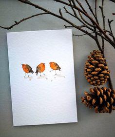 Painted Christmas Cards, Watercolor Christmas Cards, Christmas Bird, Homemade Christmas Cards, Watercolor Cards, Christmas Crafts, Homemade Watercolors, Robins, Art Carte