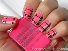 Hot pink black plaid nails
