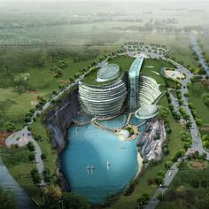 Cave hotel underway in water-filled Chinese quarry - The Songjiang Hotel is designed by UK architecture firm Atkins via Dezeen