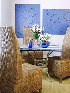 paint a canvas, dip jars and buckets in paint to make circles.