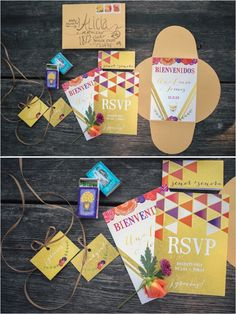 Mexican Dia de Los Muertos wedding invitations for a colorful wedding. #stationary #mexicanwedding #weddinginvites http://www.weddingchicks.com/2013/10/31/dia-de-los-muertos/