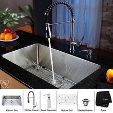 """View the Kraus KHU100-30-KPF1612-KSD30 30"""" Undermount Single Bowl 16 Gauge Stainless Steel Kitchen Sink with KPF-1612 Kitchen Faucet and KSD-30 Soap Dispenser at FaucetDirect.com. $529.95"""