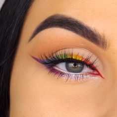 Rainbow winged liner tutorial to celebrate pride month! Products used - Phlox garden fluidline R I D E ? Rainbow winged liner tutorial to celebrate pride month! Products used - Phlox garden fluidline Makeup Goals, Makeup Inspo, Makeup Tips, Beauty Makeup, Face Makeup, Eyeliner Makeup, Makeup Trends, Maquillage Normal, Make Up Inspiration