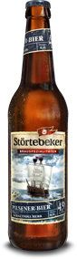 Störtebeker Pilsener-Bier (Pilsener) -- Clear yellow golden color, two finger frothy white head, recedes only slowly, foamy layer remains, fair lacing; malt aroma, bread, grass, fruity notes, bit yeasty; taste smooth moderate sweet and light bitter; medium texture, oily texture, bit peppery on the tongue, average carbonation; finish mild dry bitter and slightly sweet. OK pilsener.