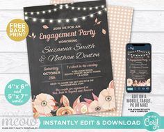 Fall Invitations Engagement Party Couple's Shower Lights Invite Printable INSTANT DOWNLOAD Chalk in Love Autumn Personalize Editable WCWE017 Printing Websites, Printing Services, Online Printing, Shower Lighting, Engagement Party Invitations, Couple Shower, Rehearsal Dinners, Wow Products, Text Color