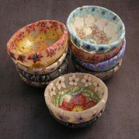 Polymer clay decorated bowls