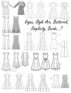 Comparatif des patrons de robes style vintage à corsage basique et jupe évasée - Vintage style dresses patterns-  La Bobine