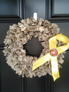 Marine Corps Desert/Woodland Cammie and Support Our Troops Ribbon Wreath. $65.00, via Etsy.