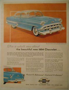 =-=1954 Car AD blue Chevrolet Bel Air 4door Sedan