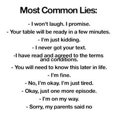 Most Common Lies
