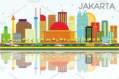 #Jakarta #Skyline with #Color #Buildings by Igor Sorokin on @creativemarket