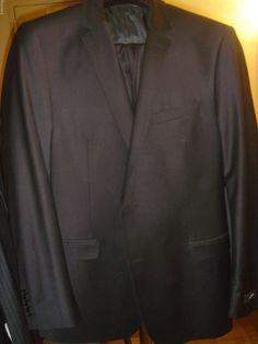 Blazer Black Tuxedo Size 42 M 36/30 Washable Wool Blend Lycra Suit New With Tags #Blazer #TwoButton