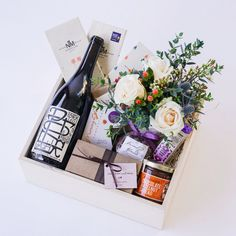 Chocolate + Wine Gift Box with Flowers Floral Gifts - The Santa Barbara Company Floral Gifts, The Santa Barbara Company - 1