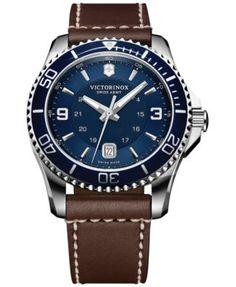 Victorinox Swiss Army Men's Swiss Maverick Brown Leather Strap Watch 43mm 249106