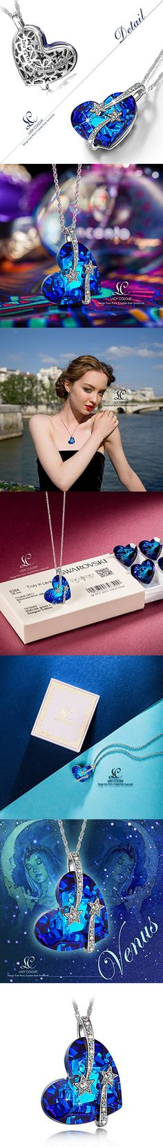 "LadyColour ""Venus"" Heart Sapphire Pendant Necklace, Made With Swarovski Crystals, Women Fashion Heart Jewelry Engraved With ""I Love You To The Moon and Back"", Great Christmas Gifts, Valentines Gift, Birthday Gifts, Anniversary Gifts"