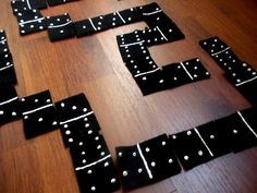 DIY Dominoes--Playing dominoes is a great way to build math skills. If you don't have the game already, you can make your own. All you need is black felt, white paint and scissors.