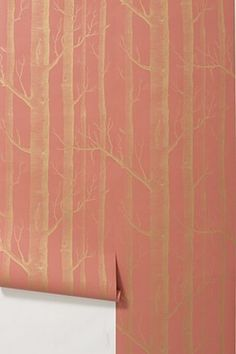 Woods Wallpaper // Gold and Dusty Coral