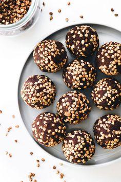 Medjool Date Buckwheat Brownie Crunch Balls - Feasting on Fruit Vegan Gluten Free Desserts, Paleo, Keto, Feasting On Fruit, Brownie Bites, Fudgy Brownies, Raw Chocolate, Buckwheat, Food Processor Recipes
